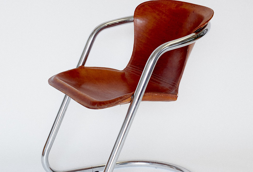 Willy Rizzo. Cognac armchair. Italy. 1970/80s