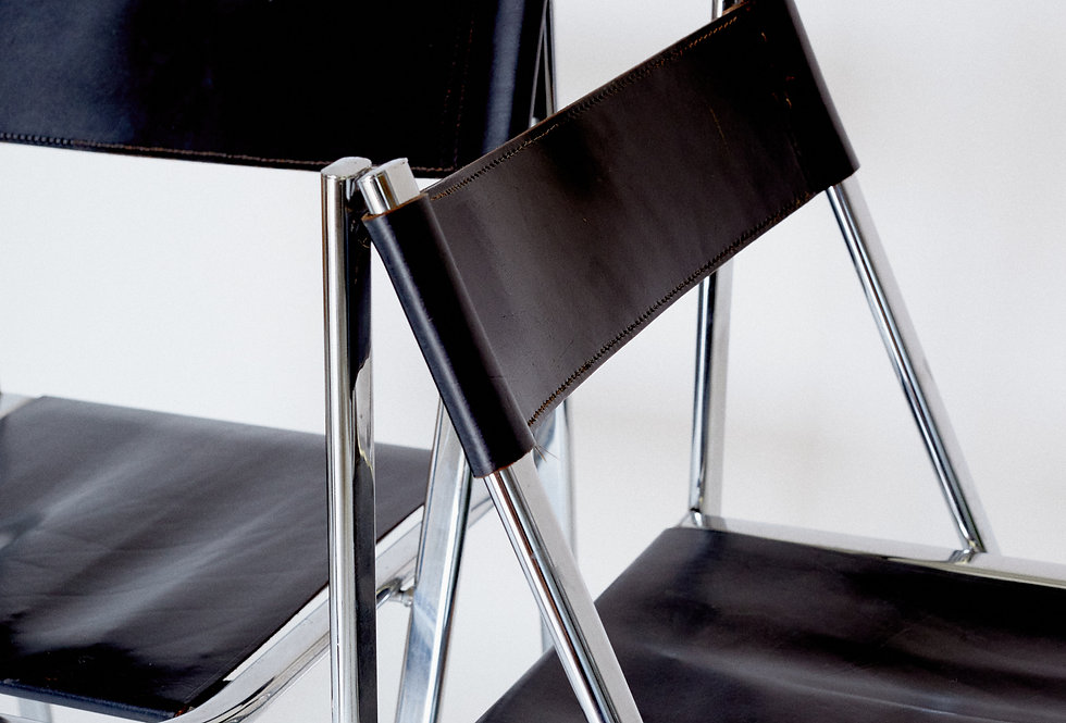x2 Steel and leather folding chair. 1970/80s