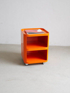 """Joe Colombo, Husqvarna. """"HURTS"""" designed for Swedish Husqvarna in the 1950s  With four wheels and two shelves.  Dimentions: 49,5 x 38 x 38"""