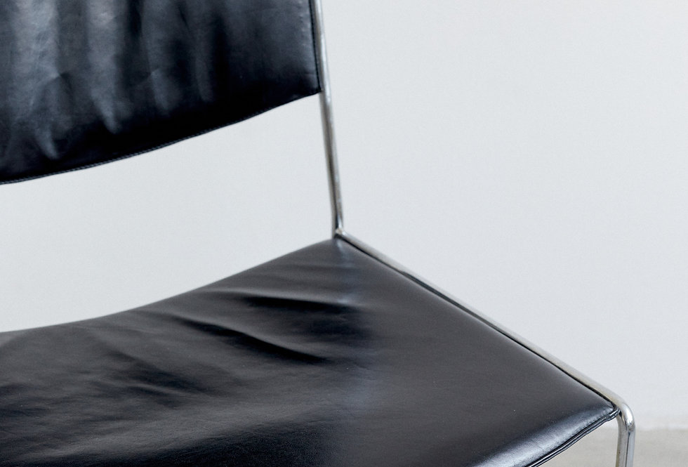 Side chair, chrome and leather