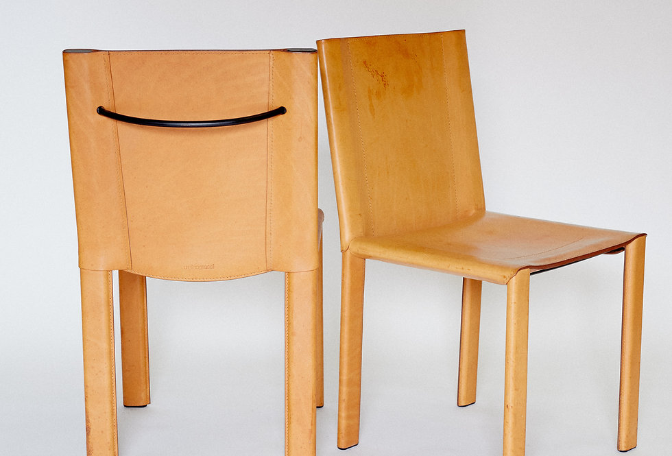 x2 Matteo Grassi. Cognac chair. Italy. 1980s