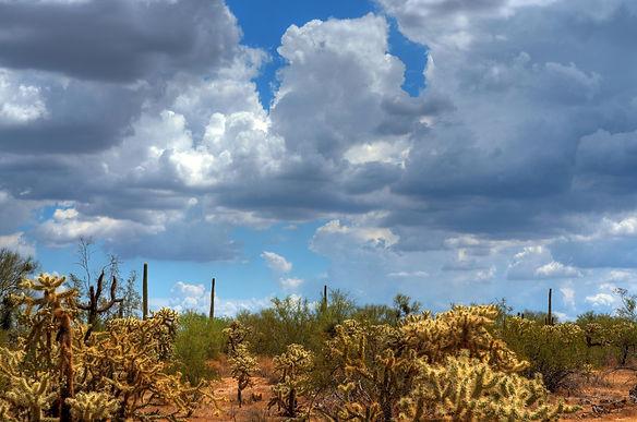 Storm clouds forming over the Arizona de