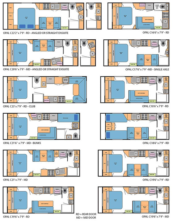 Floor Plans Opal Caravans