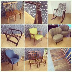 Tuoleja tuoleja. Verhoilut suoritti verhoomo Wanhan Waalija.