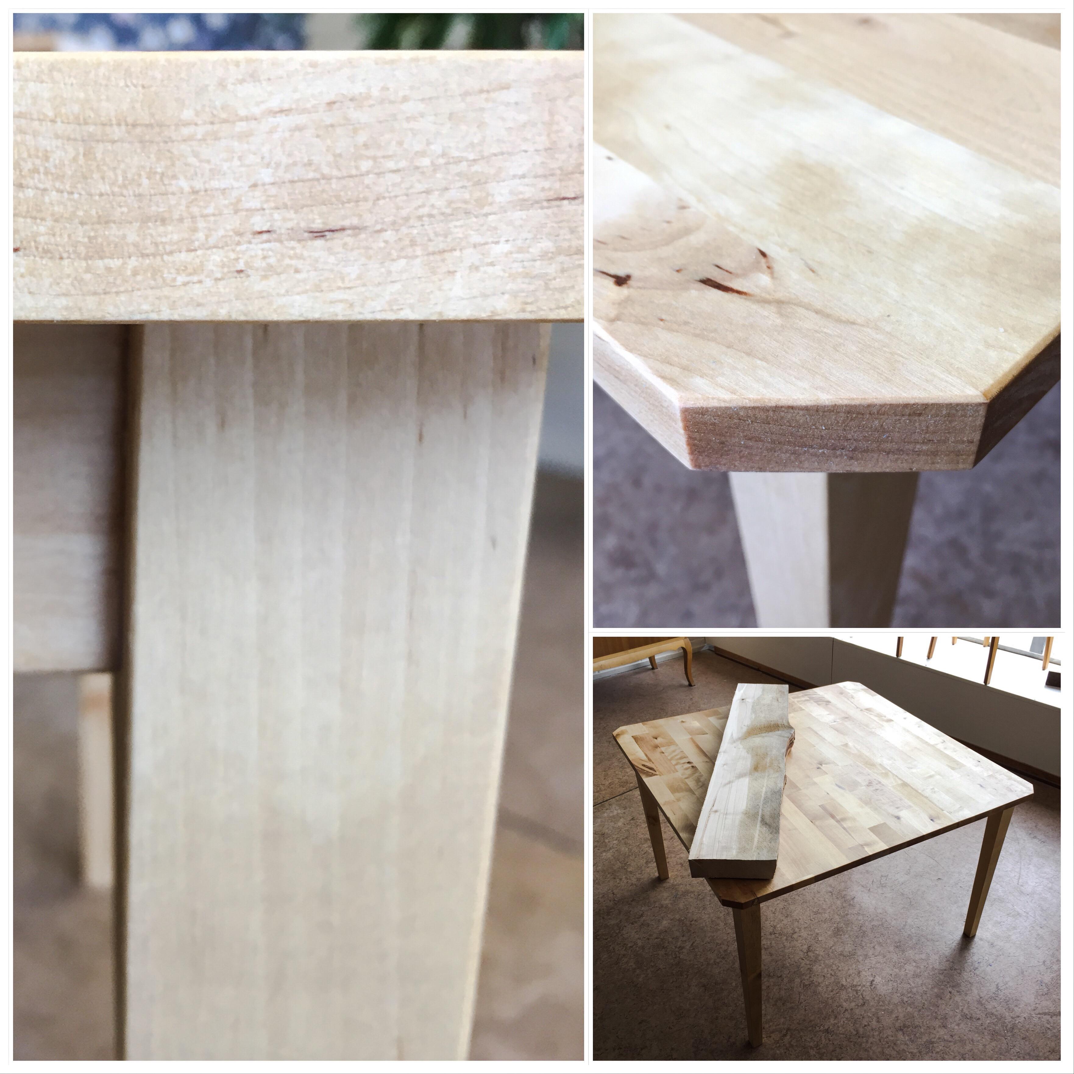 Olohuoneen pöytä on valmistettu osittain asiakkaan omasta puumateriaalista.