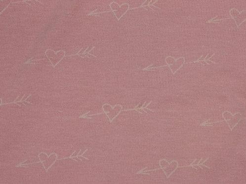 1535 Glow in the Dark Heart - Jersey - Grey & Pink