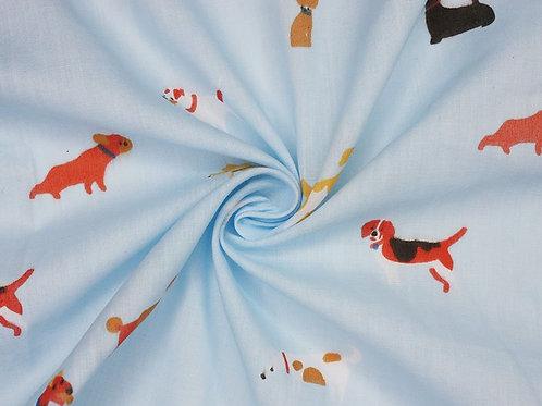 1451 Dogs Life Sky Blue Polycotton