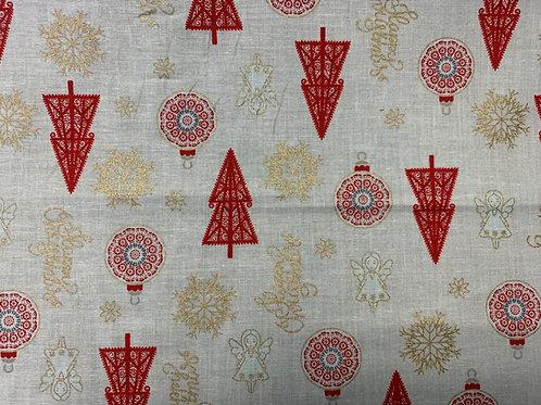 1261 Metallic Angel Christmas Ivory cotton fabric