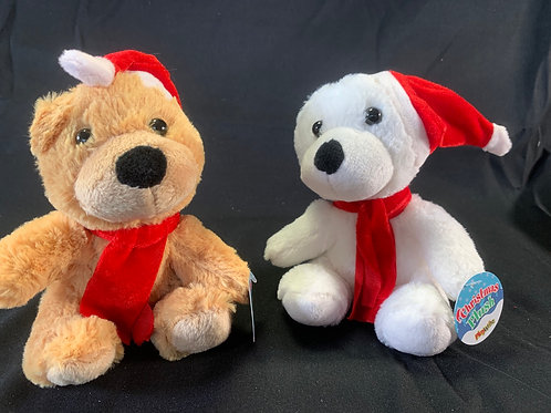 1210 Cuddly Christmas Bear with Hat & Scarf