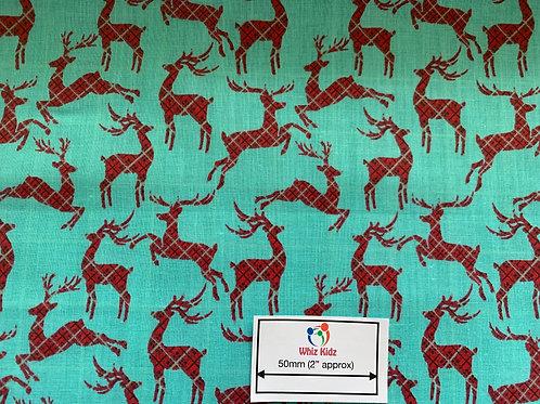 1332 Tartan Reindeer on Aqua Polycotton