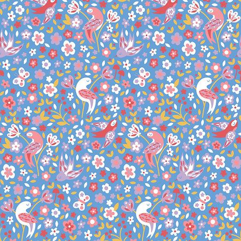 1495 Birds & Blooms - Blue - Polycotton