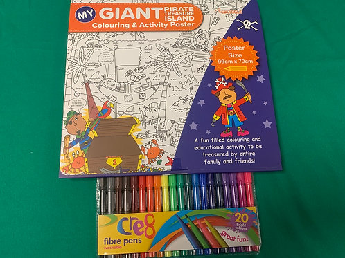 GIANT Pirate colouring poster & Pens