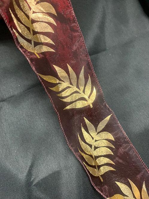 Burgundy/Gold 70mm wired chiffon ribbon