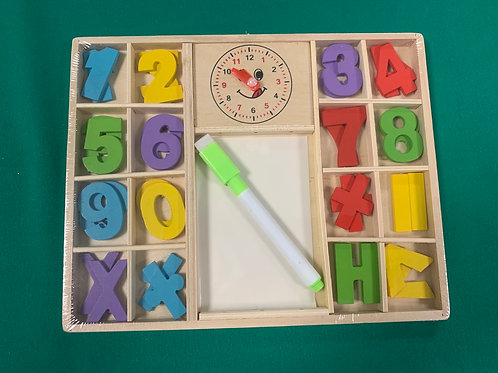 Wooden maths set with clock