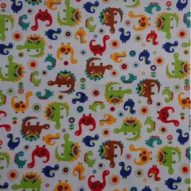 1639 Cartoon Dinosaurs - 100% Cotton