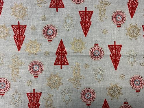 1261 Metallic White Angel Christmas cotton