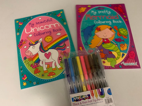 Unicorn and mermaid colouring set