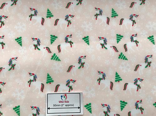 1355 Christmas Unicorn on Peach - Polycotton