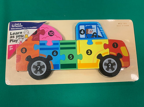 Truck wooden number puzzle