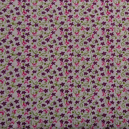 1498 Purple Floral on Ivory 100% Cotton