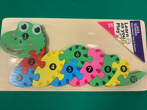 Snake wooden number puzzle
