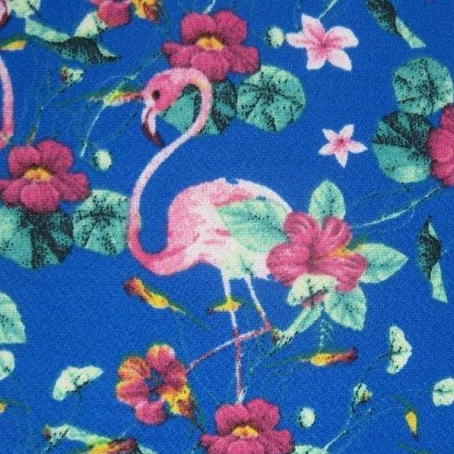 1676 - Flamingo Flower - Royal - Polyester/Crepe