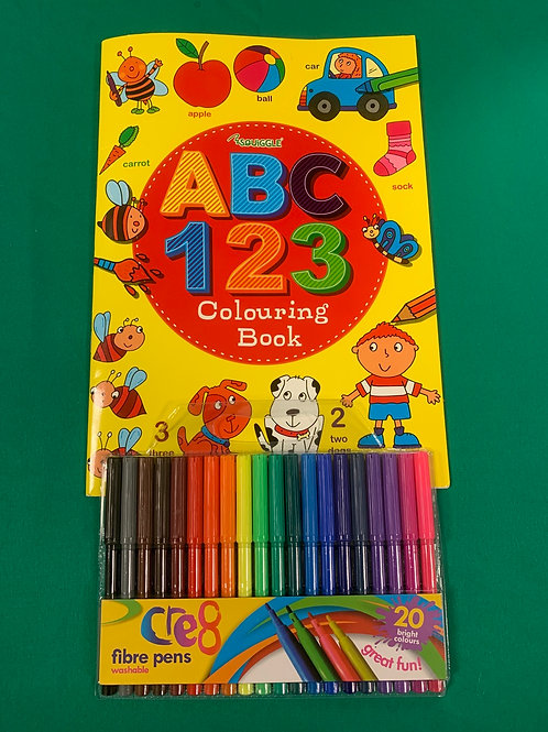 ABC and 123 colouring book and pens