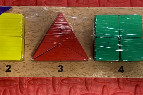 Wooden shape and counter puzzle