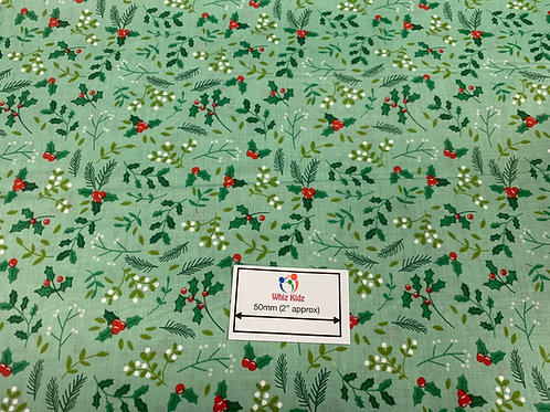 1327 Holly & Mistletoe on Mint Polycotton Fabric