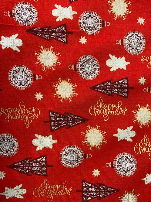 1260 Metallic Red Angel Christmas cotton fabric