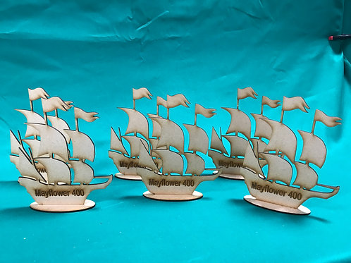 Mayflower 400 Wooden Ship with Stand