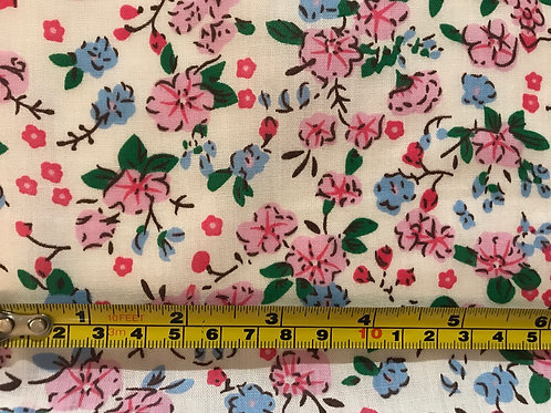 1263 Pink and blue blossom on Ivory. Polycotton