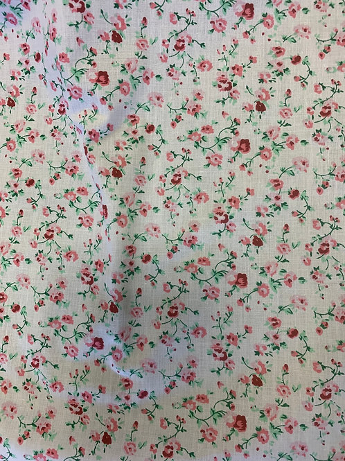 1132 White with pink flowers polycotton