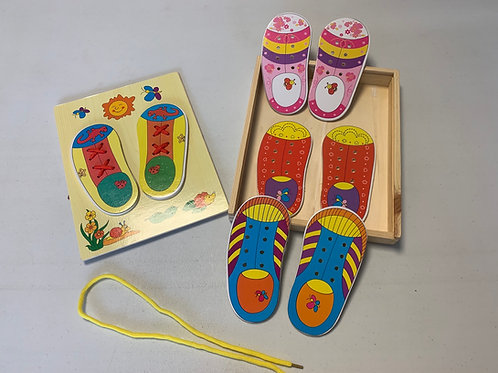 Wooden Shoe lace learning set