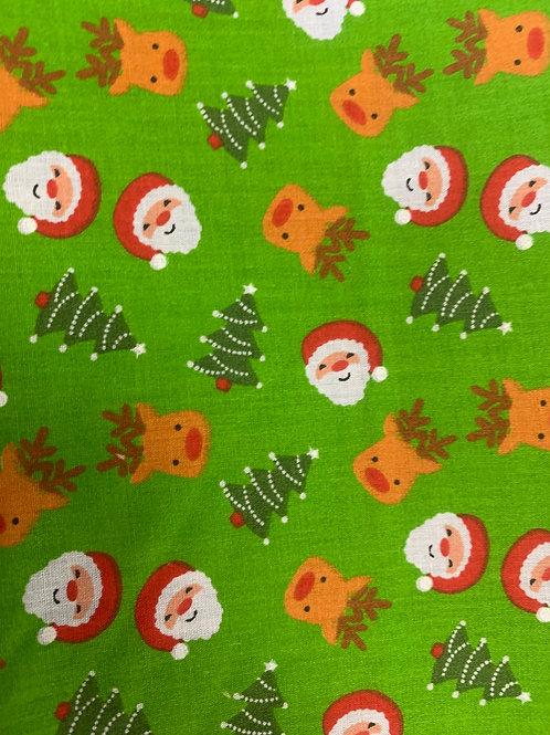 19081P Reindeer Santa lime fabric