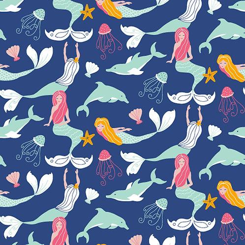 1493 Mermaids & Dolphins - Navy Polycotton
