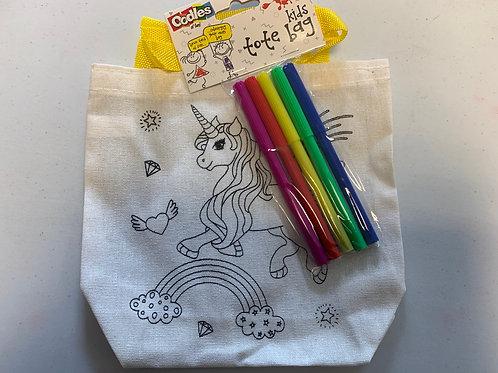 Unicorn Colour in tote bag