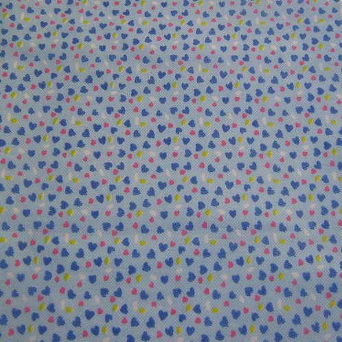 1496 Blue Hearts Design 100% Cotton