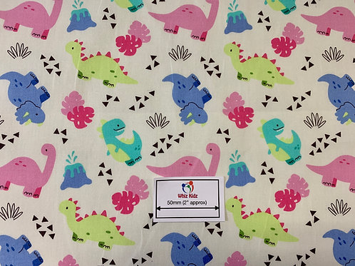 1155 Friendly Dinosaurs on Ivory cotton poplin