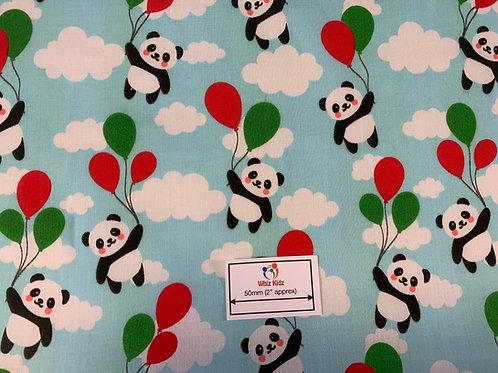 1158 Pandas on Blue-Polycotton