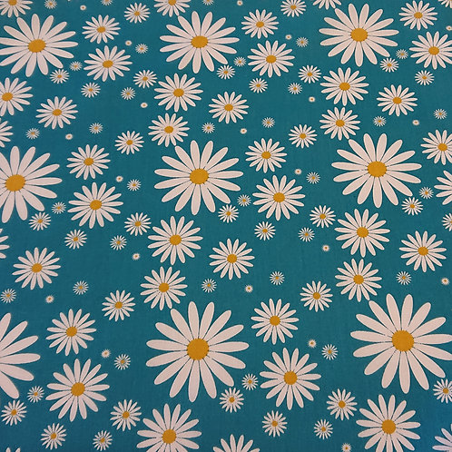 1508 Daisies on Turquoise - Polycotton