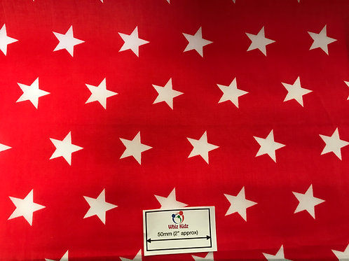 1357 White Stars on Red Polycotton