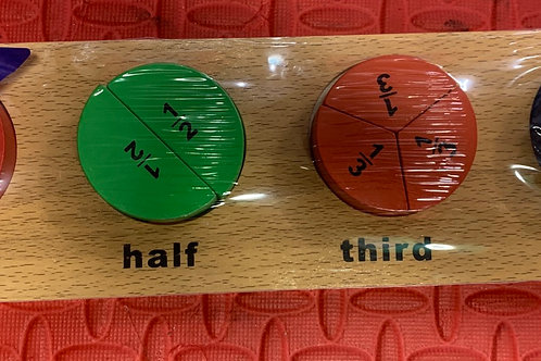 Wooden Fractions puzzle and counters