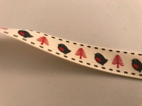 1268 15mm Robin festive ribbon cream