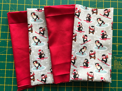 1350 Festive Penguin  Fat Quarters Set Polycotton + Polyester
