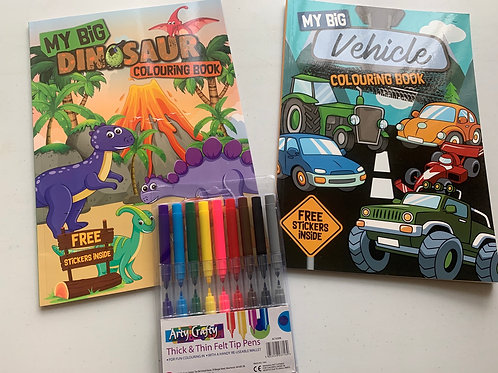My Big colour and sticker book set Dinosaur & Vehicles