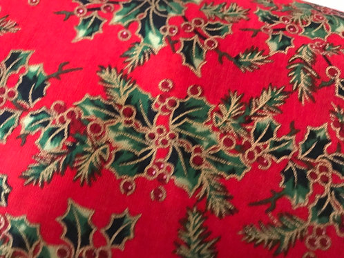 1266 Large holly print with gold Red 100% cotton