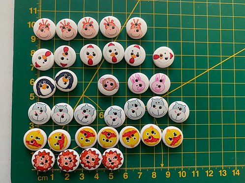 Children's wooden animal buttons