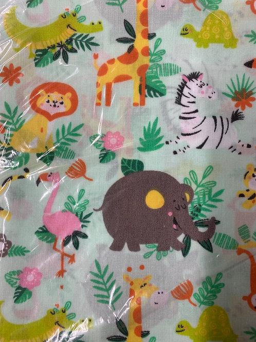 Pale green jungle animal print cotton