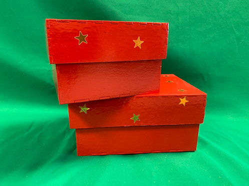 Red wooden star boxes set 2
